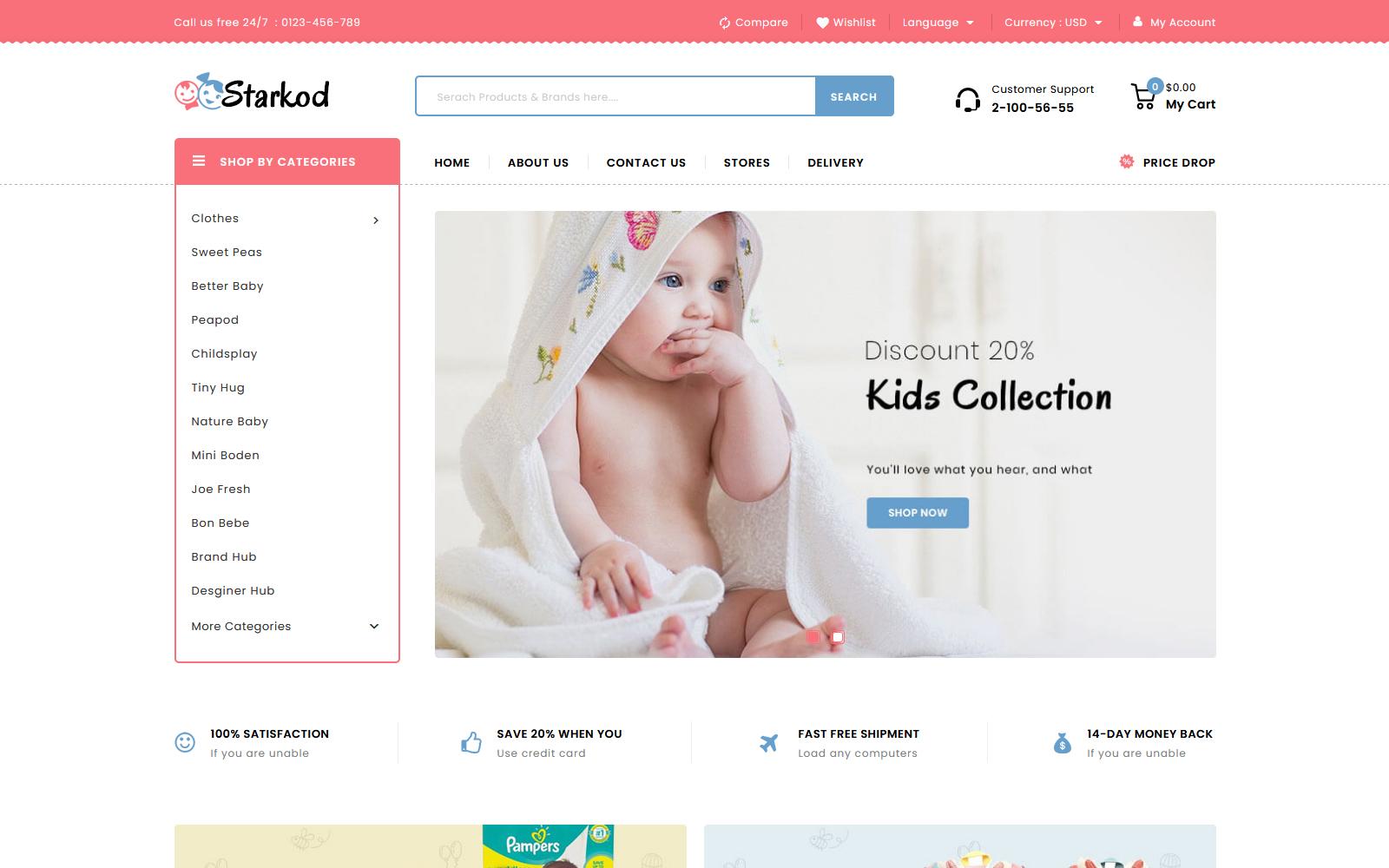 """Starkod - Kids and Toys Store"" - адаптивний PrestaShop шаблон №148689"