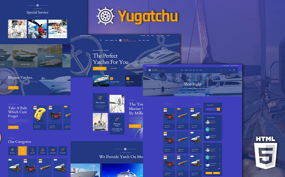 Yugatchu Luxury Yacht Club Service en Marine Shop Website Template