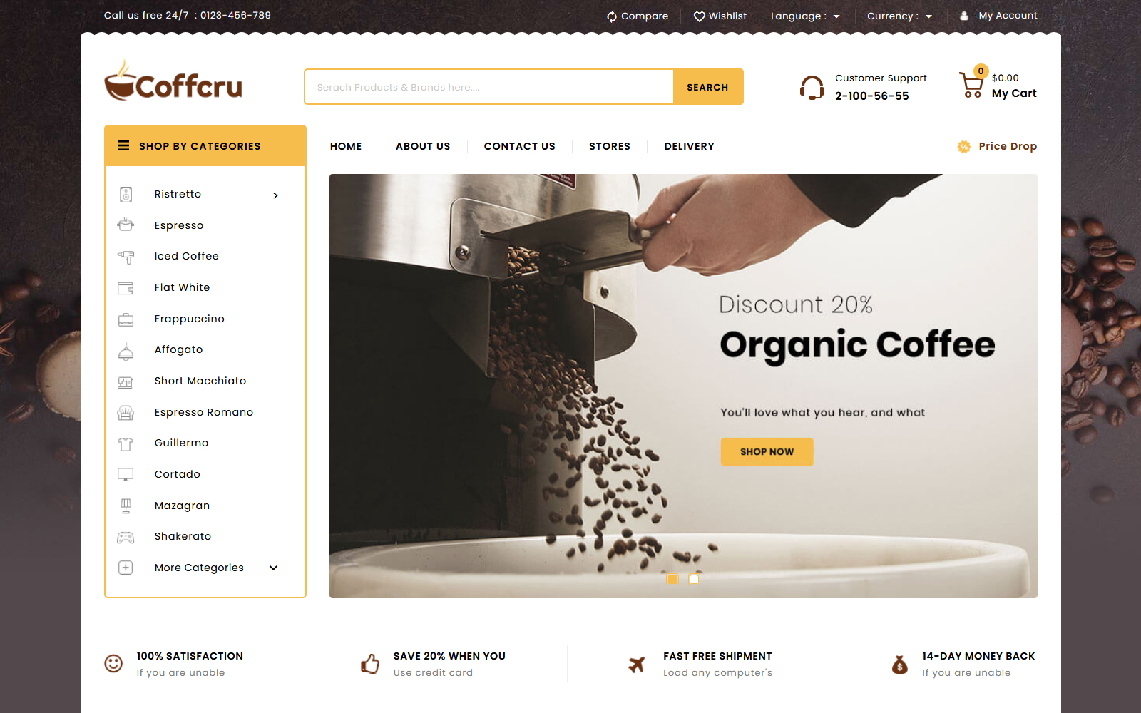 Coffcru - Coffee and Drinks Store Tema PrestaShop №149431