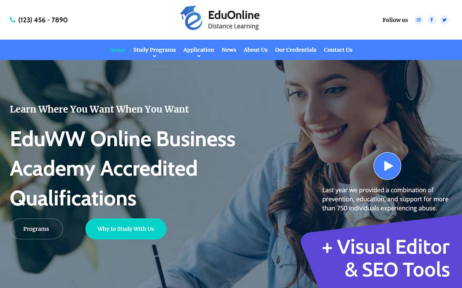 """EduOnline - Distance Learning"" - адаптивний MotoCMS 3 шаблон №149430"