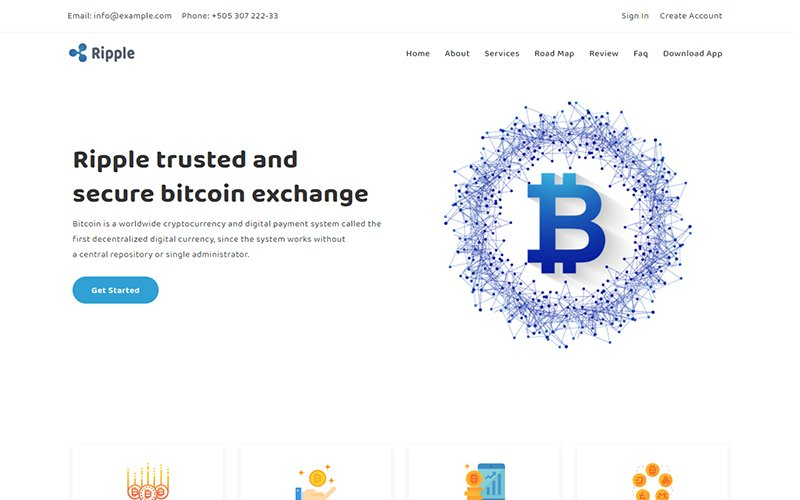 """""""Ripple - Bitcoin & Cryptocurrency"""" - адаптивний Шаблон цільової сторінки №149433"""