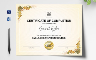 Clean Eyelash Extension Certificate Template