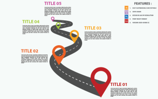 Road Curved Timeline Vector Design Infographic Elements