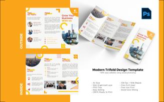 Yellow trifold brochure