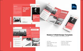 Maroon trifold brochure