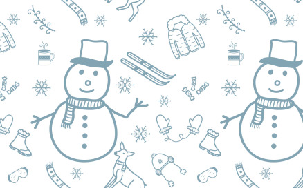 Winter Ornament Doodle Seamless Pattern