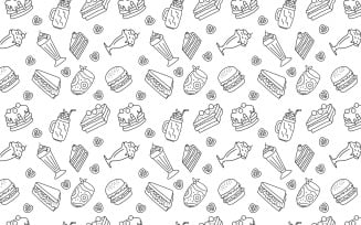 Meal Drink Hand Drawn Seamless
