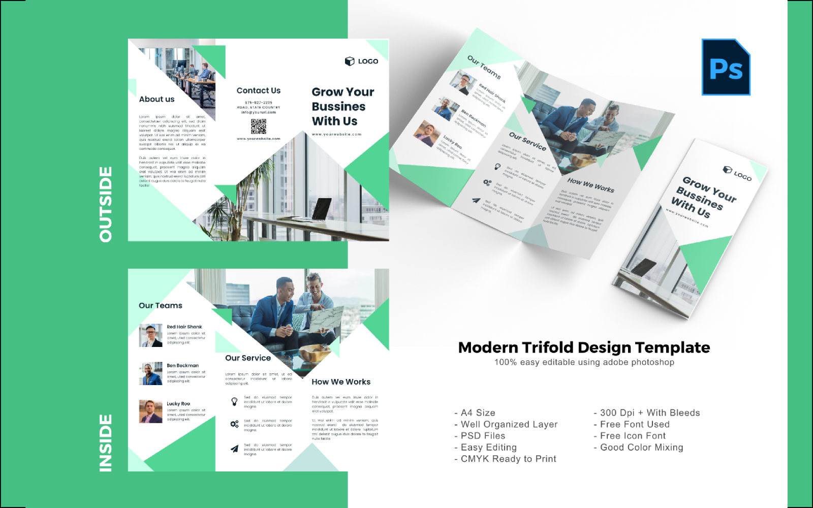 Business Marketing Trifold Brochure PSD sablon 150211