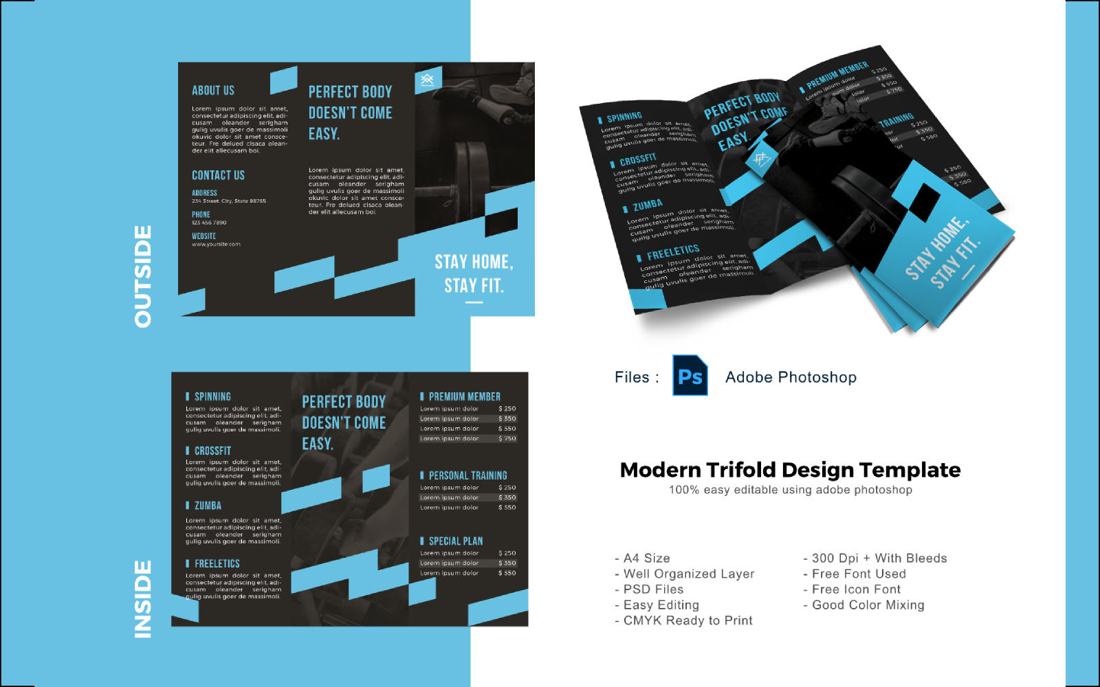 Fitbody Trifold Brochure PSD sablon 150213