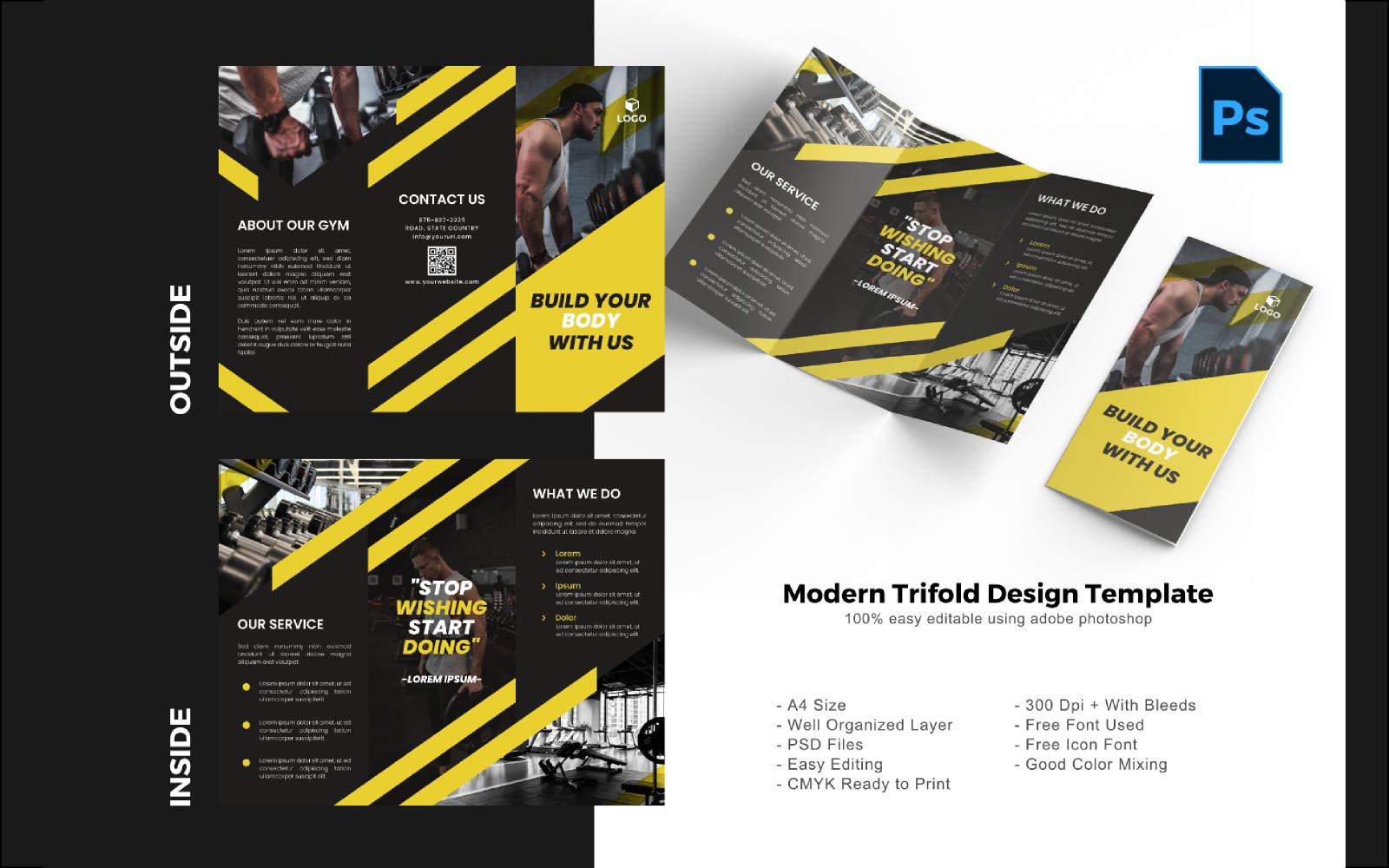 Fitness Trifold Brochure PSD sablon 150207