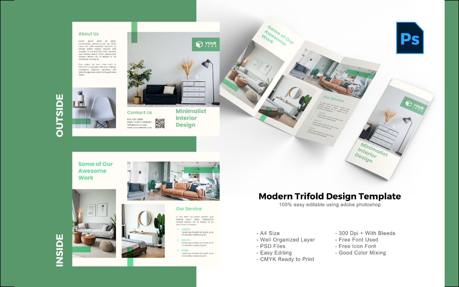Interior Trifold Brochure PSD sablon 150204