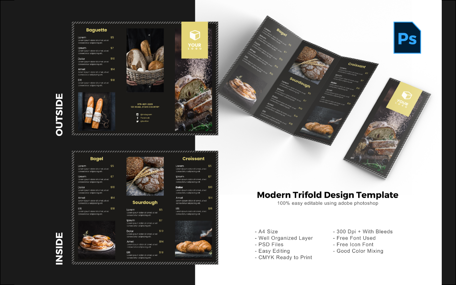Luxury Bakery Trifold Brochure PSD sablon 150203