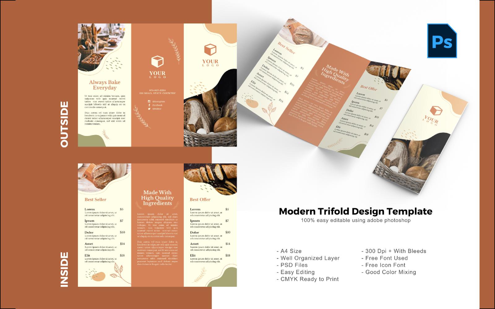 """PSD šablona """"Bakery Resto Trifold Brochure"""" #150212"""