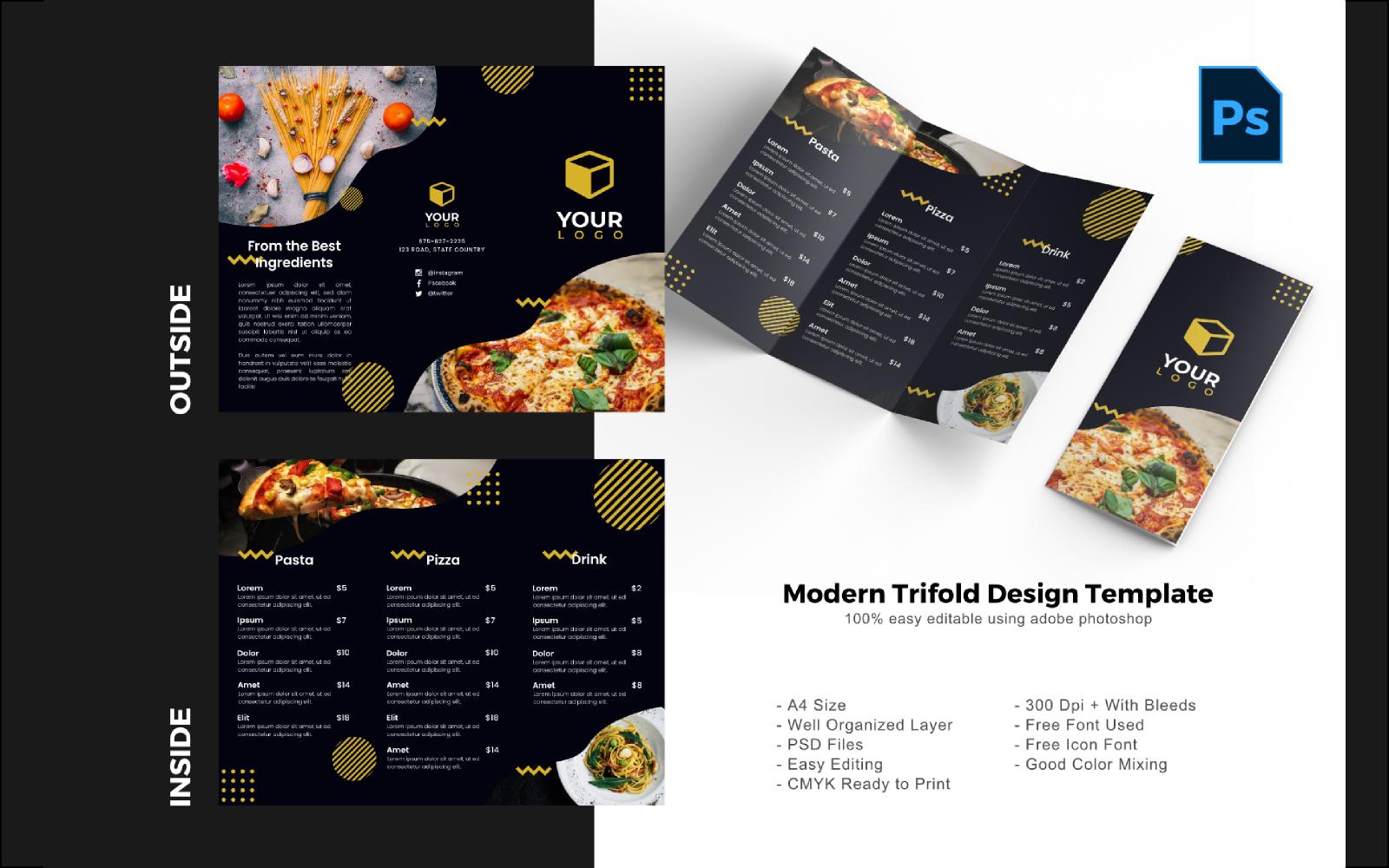 "PSD šablona ""Food Restaurant Trifold Brochure"" #150201"