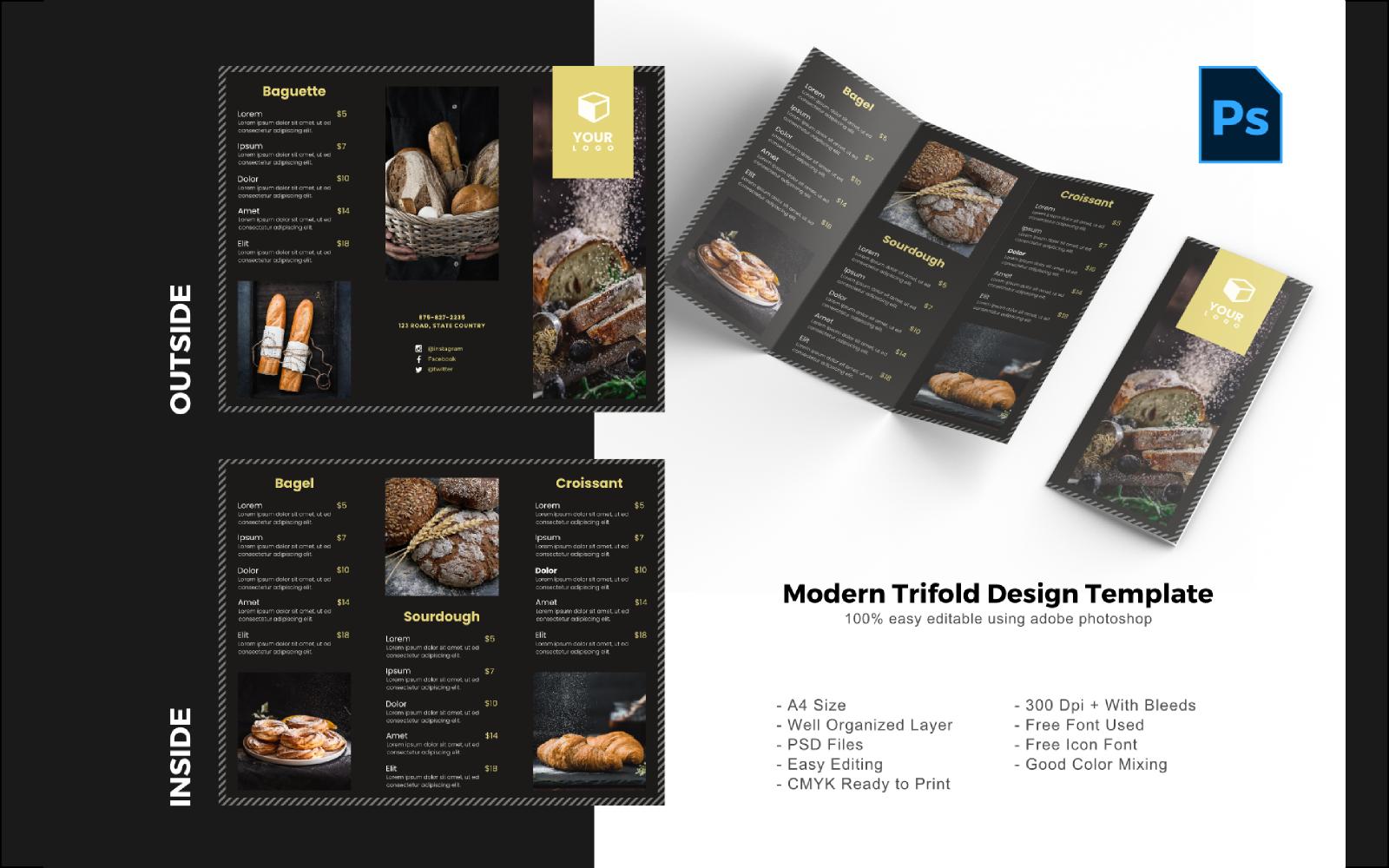 "PSD šablona ""Luxury Bakery Trifold Brochure"" #150203"