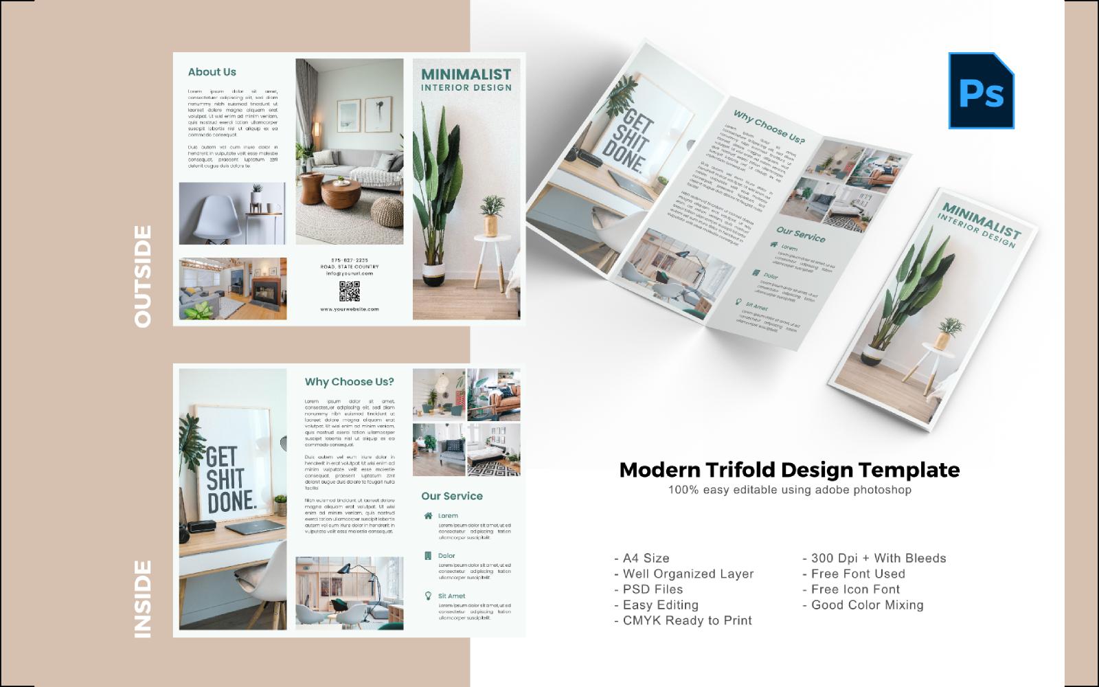 "PSD šablona ""Minimal Interior Trifold Brochure"" #150210"