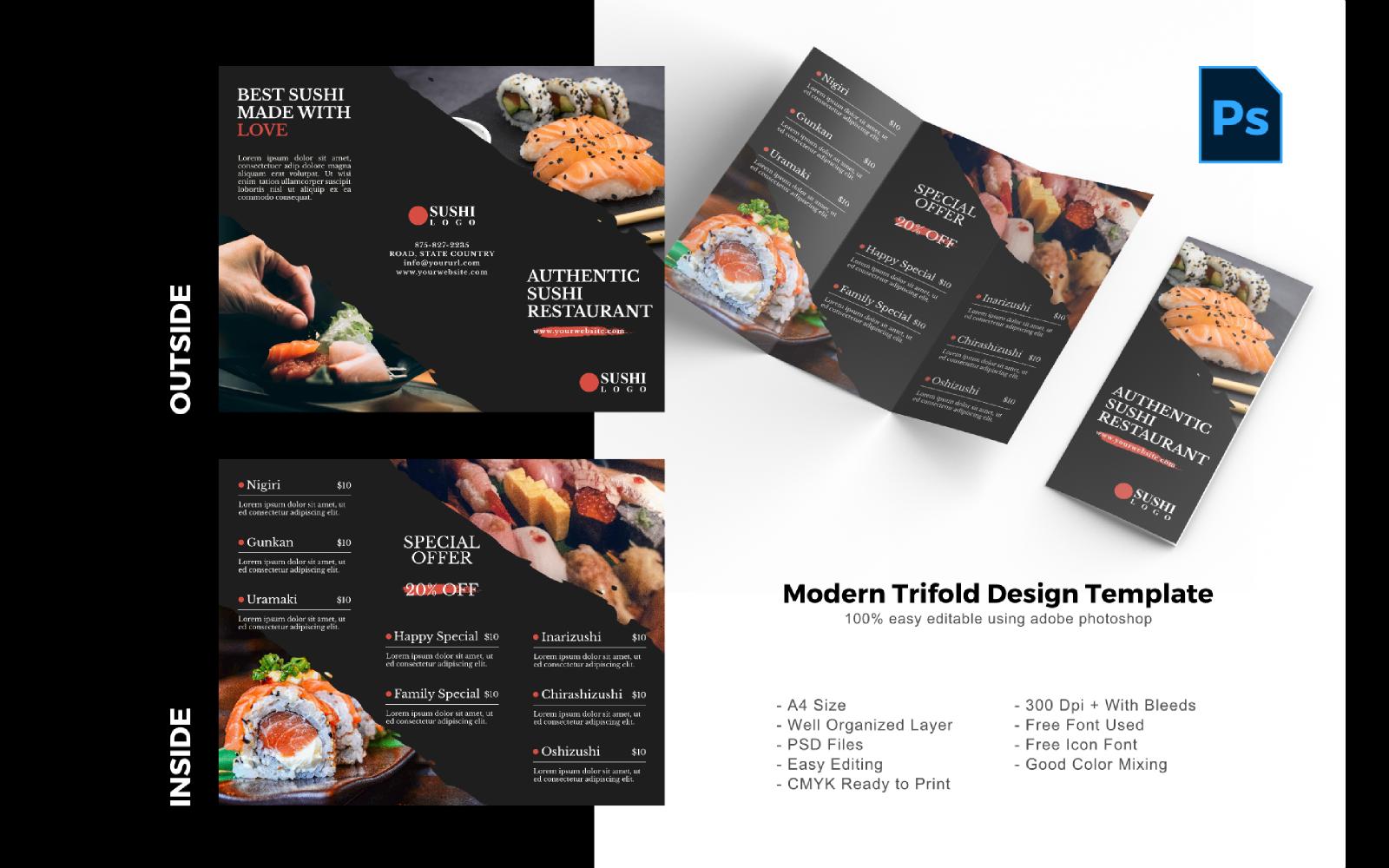 "PSD šablona ""Sushi Food Trifold Brochure"" #150206"