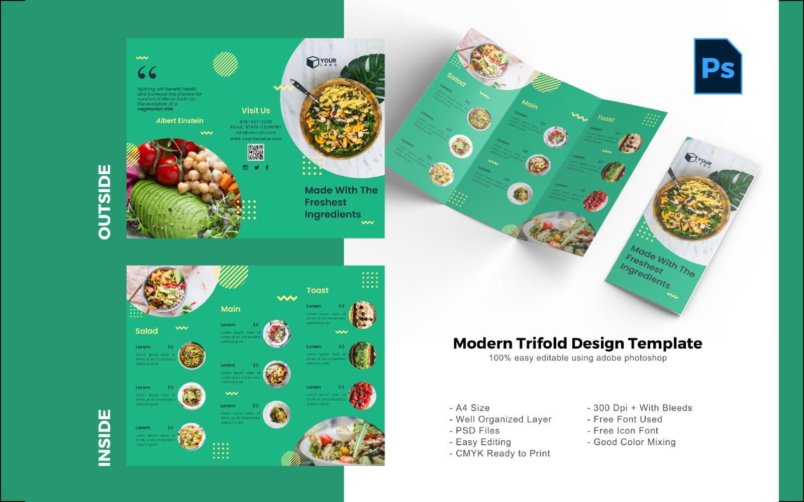 "PSD šablona ""Vegan Trifold Brochure"" #150208"