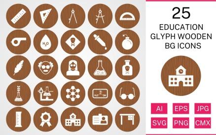 25 Education Glyph Wooden BG Icon Set