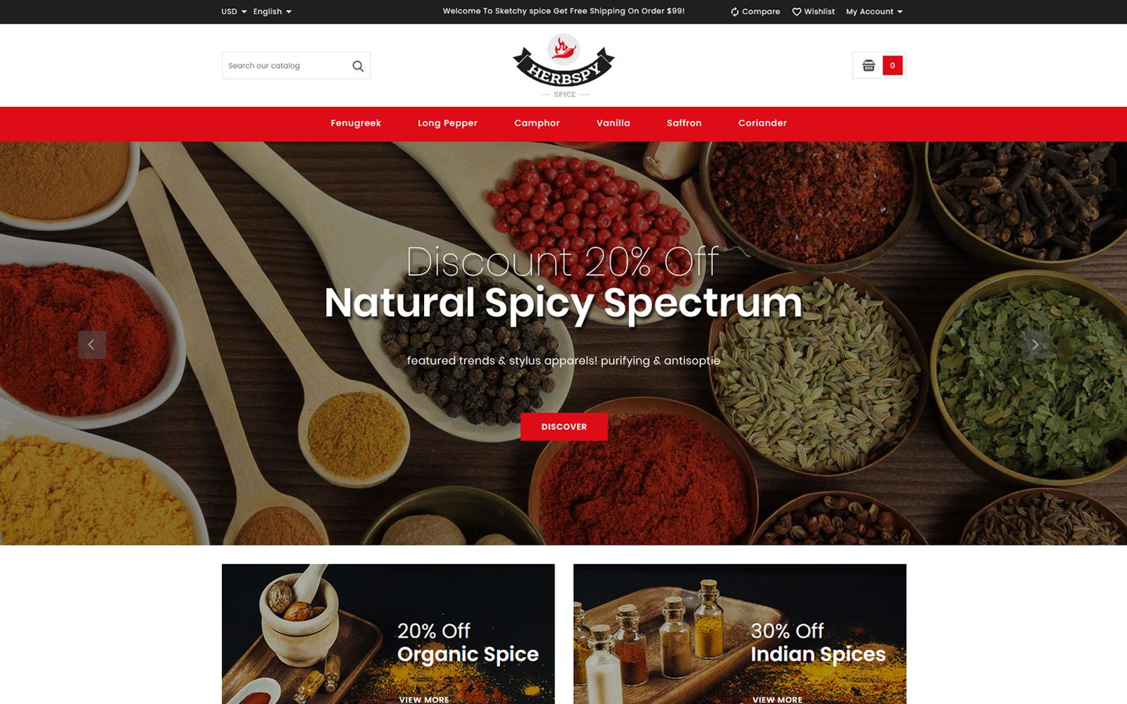Herbspy - Spice and Food Store Tema PrestaShop №150832