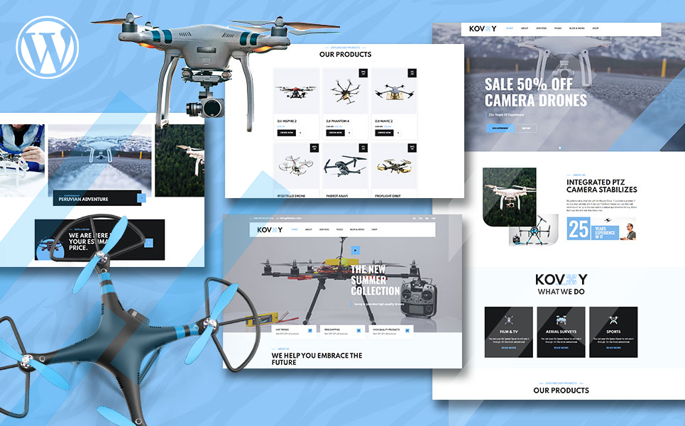 """Kovoy Drone Accessories Shop and UAV Business"" thème WooCommerce adaptatif #150834"