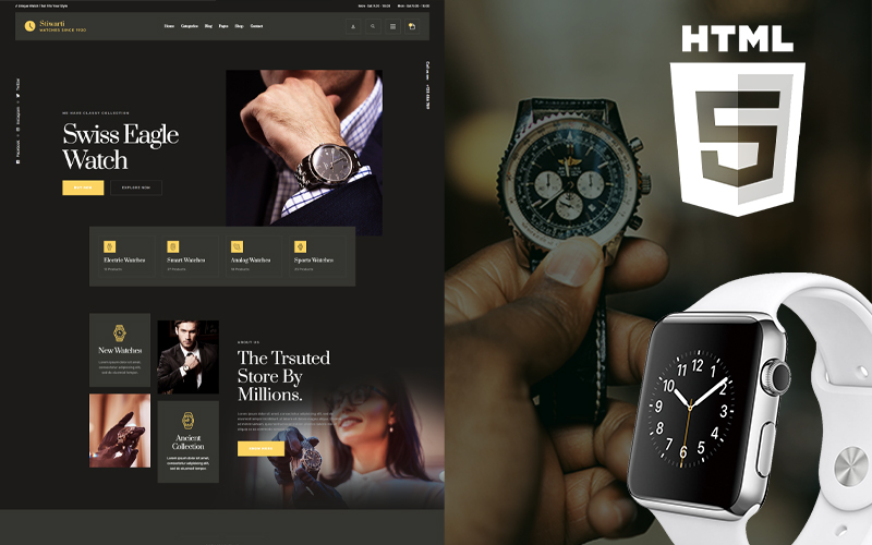 Responsivt Smatch - Watch Store Hemsidemall #150822
