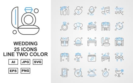 25 Premium Wedding Line Two Color Pack Icon Set