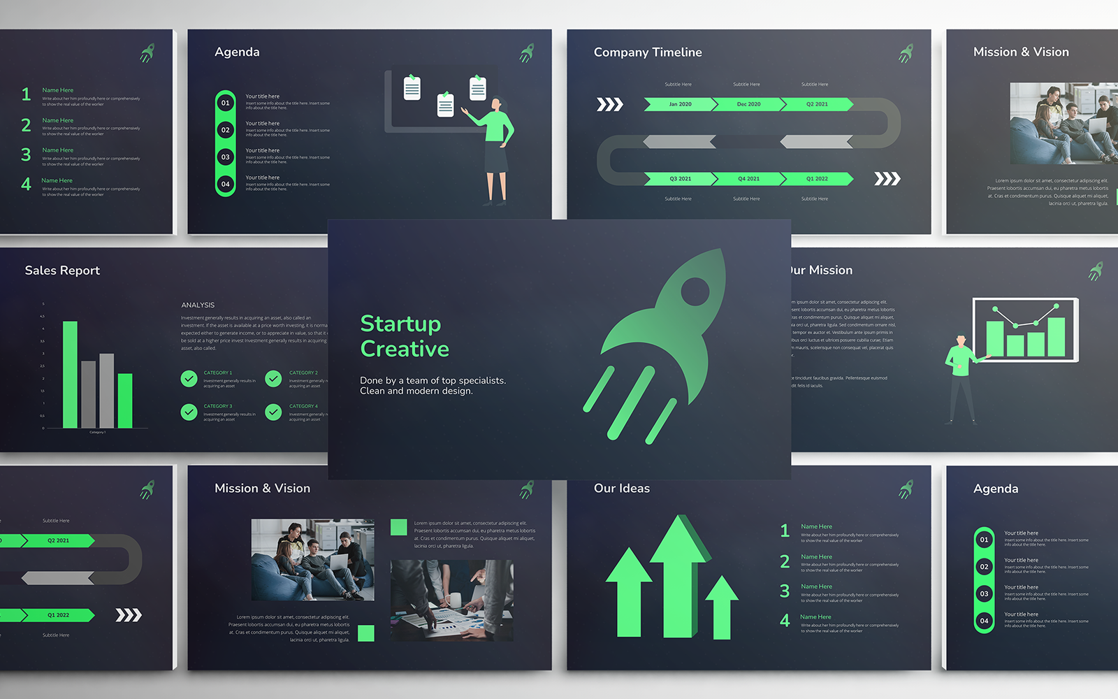 Startup Creative Pitch Deck PowerPoint Template