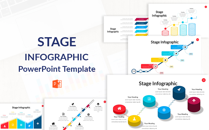 "Plantilla PowerPoint ""Stage Infographic"" #151196"