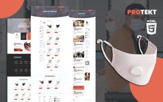 Protekt Medical Face Mask Store HTML5 Website Template