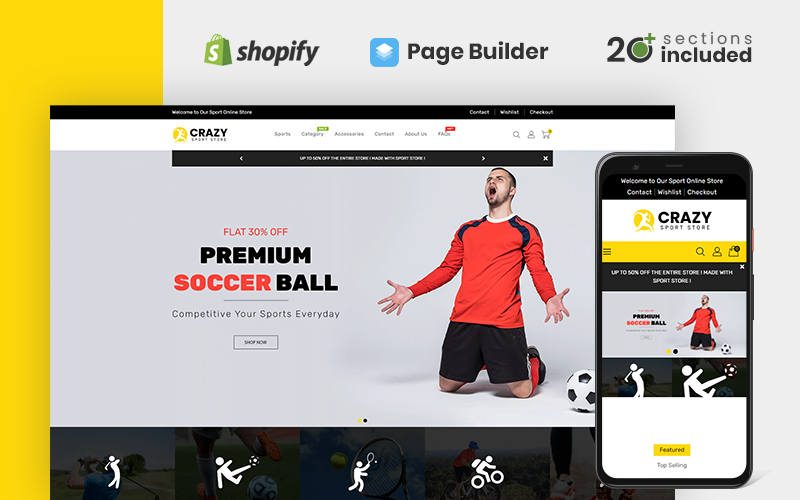 """""""Crazy Sports Store"""" Responsive Shopify Thema №151225"""