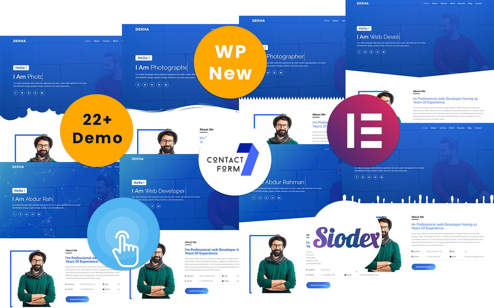 Dekha-Portfolio/Resume/CV One page Tema WordPress №151222