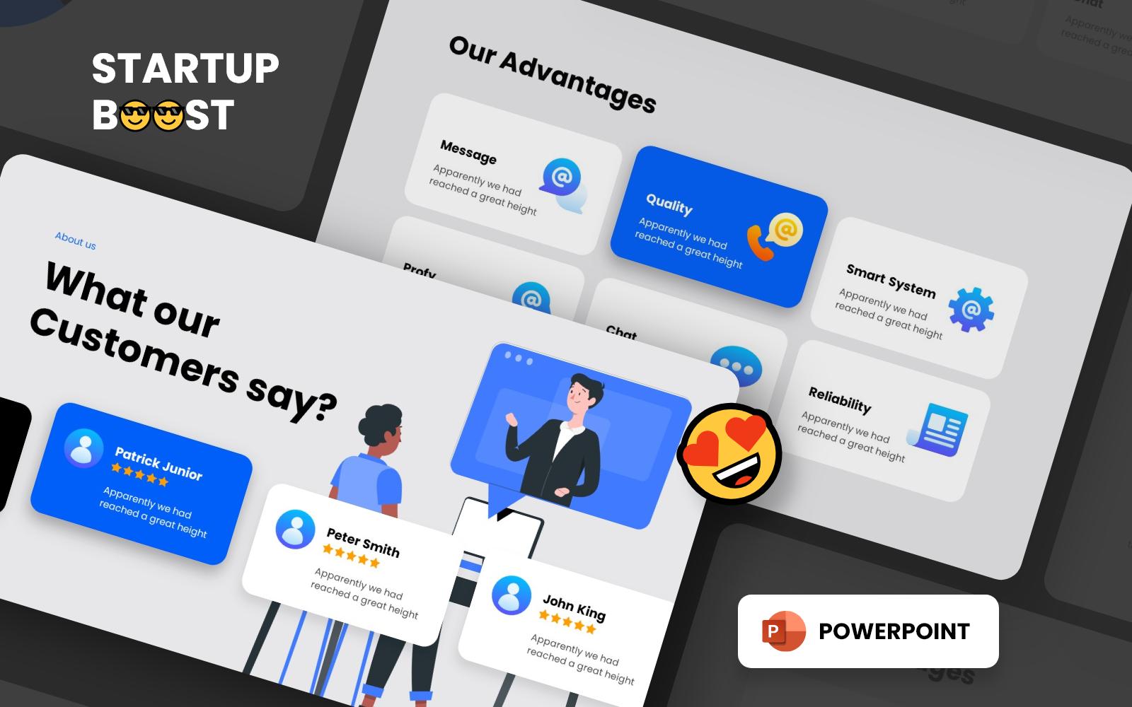 "Luxusní PowerPoint šablona ""Startup Boost - Smooth Animated"" #151217"