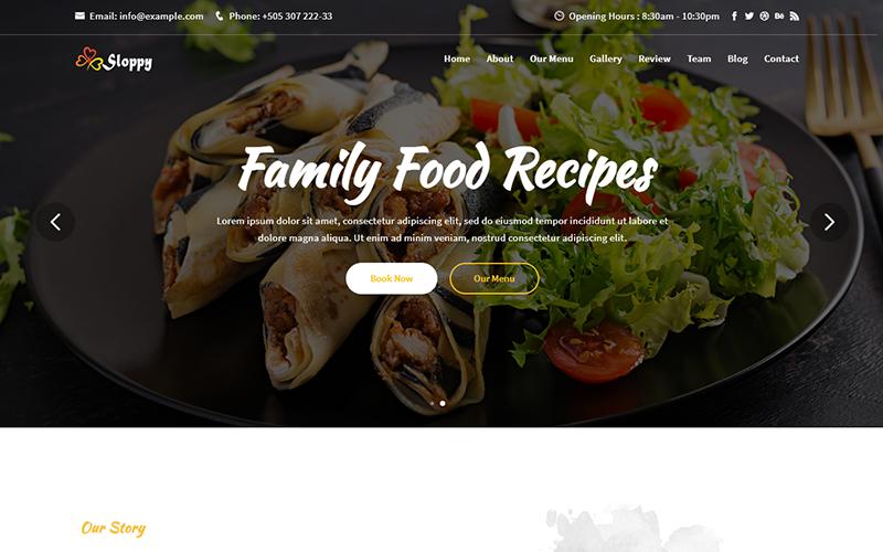 """Sloppy - Food & Resturant Responsive"" 响应式着陆页模板 #151220"