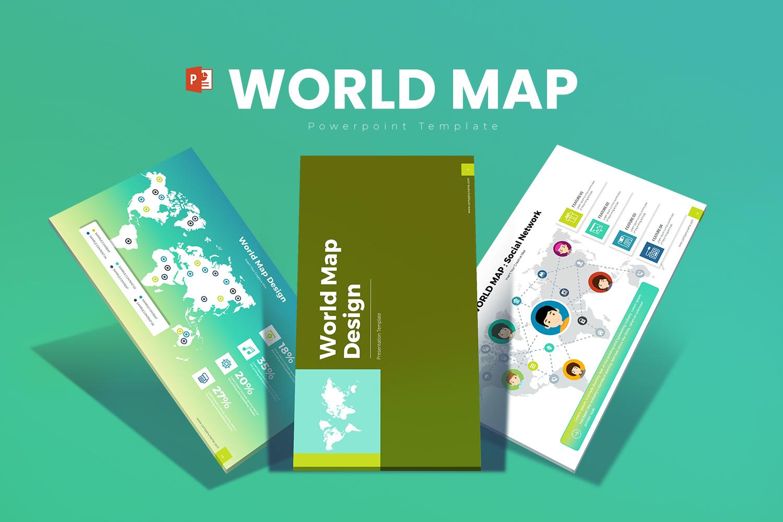 World Map Template PowerPoint №151204