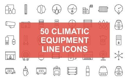 1 - Climatic Equipment Line Black Icon Set