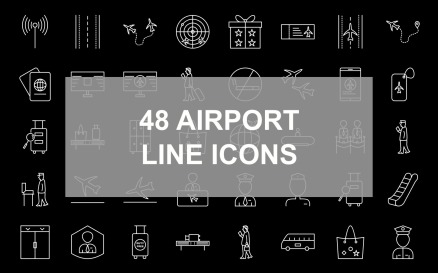 2 - Airport Line Inverted Icon Set