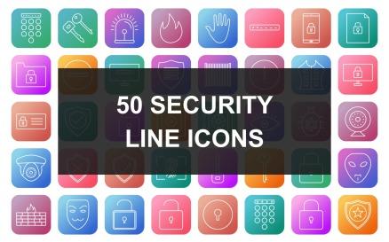 3 - Security Line Square Round Gradient Icon Set