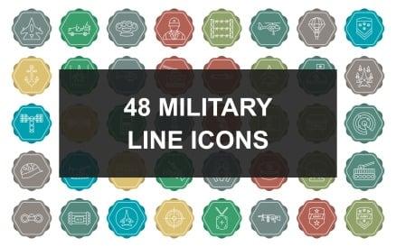 5 - Military Line Multicolor Background Icon Set