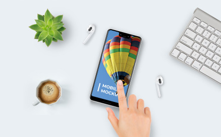 Mobile on Table Product Mockup