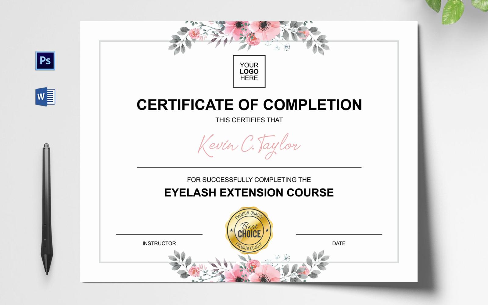 Szablon certyfikatu Rose Gold Eyelash Extension #151764
