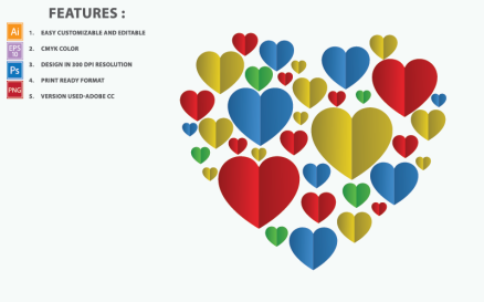 Colorful Heart Vector Design Illustration