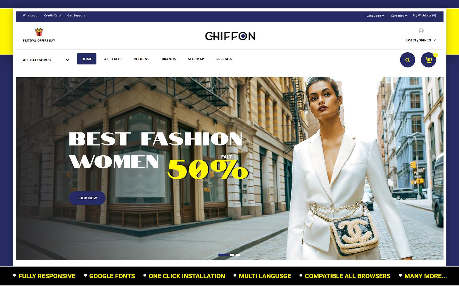 """""""Chiffon - Fashion Store"""" - адаптивний OpenCart шаблон №151866"""