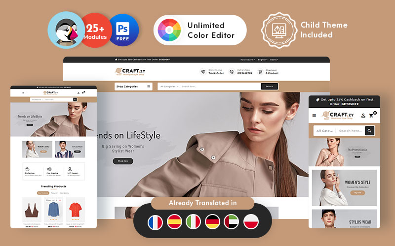 Craftzy Boutique Store - Multipurpose Responsive Tema PrestaShop №151864