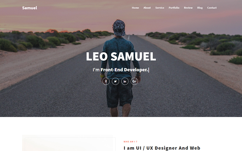 Responsivt Samuel - Personal Portfolio Landing Page-mall #151869