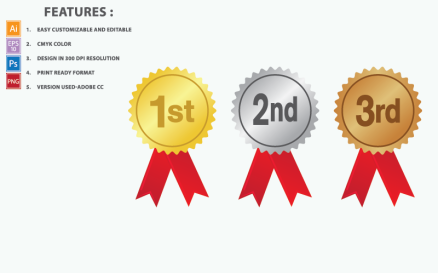 Award Medals Vector Illustration