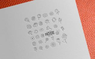 Simple Blooming Rose Doodle Set