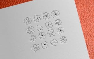 Simple Flower Hand Drawn Set