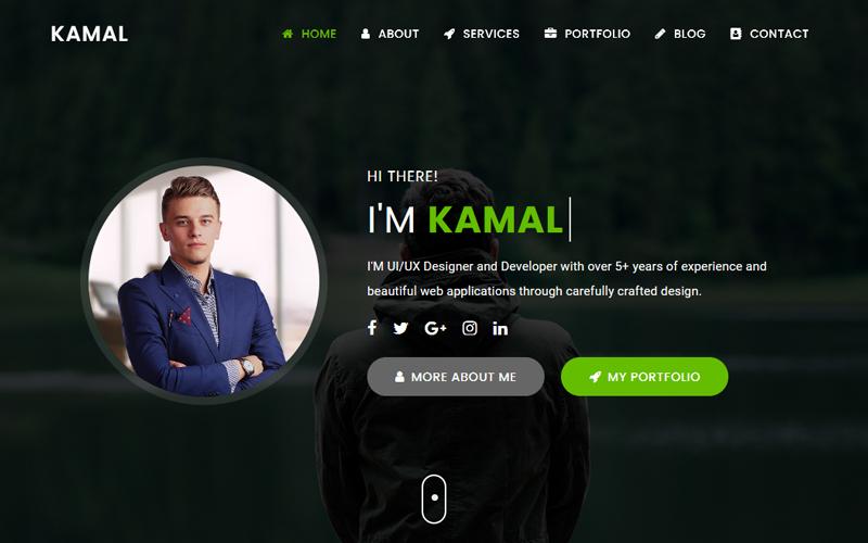 """Kamal - Personal Portfolio"" 响应式着陆页模板 #152094"