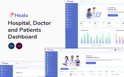 Healo Medical Dashboard UI Element
